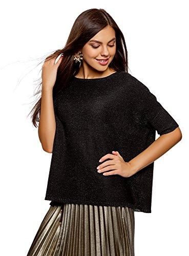 oodji Collection Damen Lässiger Pullover mit Lurex, Schwarz, DE 36 / EU 38 / S