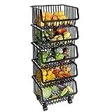 ASDAD Estante para Verduras Cocina Cestas De Almacenamiento De Metal De Múltiples Capas para Colocar En El Piso Artículos para El Hogar Estantes Ruedas Negro 2/3/4/5 Nivel,5Tier