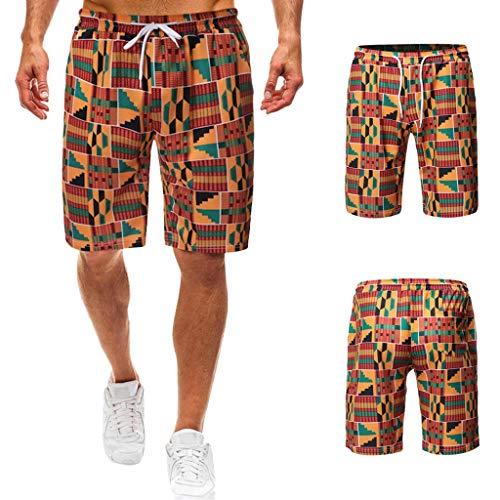 Yuelie Pantalones Cortos de Playa para Hombre con Cintura elástica y cordón de Ajuste (M/L/XL/XXL, 46