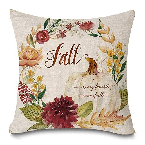 Faromily Fall Theme Pillow Covers Watercolor Autumn Leaves Wreath Farmhouse Decorative Cushion Covers Cotton Linen Throw Pillow Cases 18x18 inch