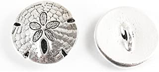 TierraCast Pewter Buttons-FINE SILVER PLATED SAND DOLLAR 17mm (2)