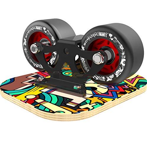LINGJIE Drift Skate Platten Drift Board Tragbares Rollensport-Skateboard für den Außenbereich mit blauen Blitzrädern