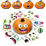 Halloween Pumpkin Decorating Stickers 12 Large Sheets - Jack-o-Lantern Decoration Kit 26 Total DIY Face Stickers Cute Halloween Decor Idea Treats Gifts and Crafts for Kids 6' x 9'