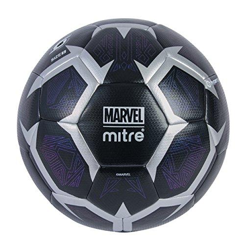 Mitre Marvel - Balón de fútbol, Color Negro/Plata, tamaño 5