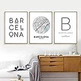 Póster de mapa de la ciudad con impresión de Barcelona tipografía de Barcelona arte de pared moderno pintura en lienzo impresión decoración nórdica española para el hogar 30x40cmx3 sin marco