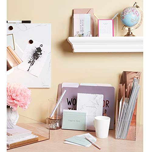 """C.R. Gibson Clear Acrylic File Holder, Mirror Panel, Measures 7.75"""" W x 4"""" H x 4.25"""" D - Rose Gold (LH-20084) Photo #4"""