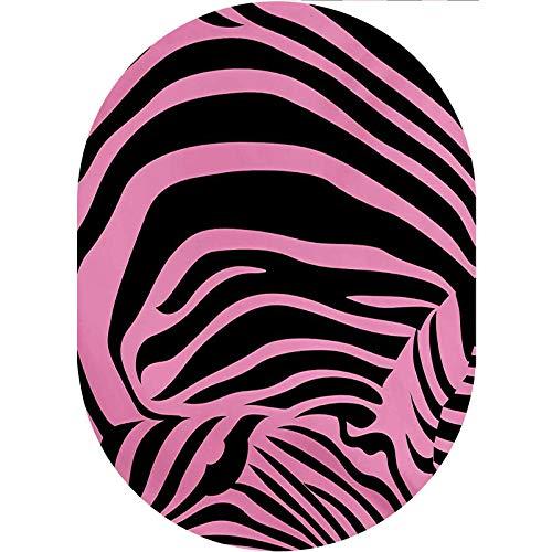 Pink Zebra Oval Area Rug Carpet,Vibrant Background Zebra Skin Artistic Avant Garde Tribal Punk Indie Wild Decorative Collection Rug,4'x 6'Oval,for Kids Nursery Teens Room Girls Boys