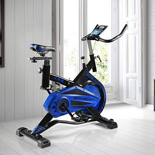 ECODE Bicicleta Spinning Shark. Uso semiprofesional con pulsómetro, Pantalla LCD y Resistencia Variable. Estabilizadores. Completamente Regulable.Rueda de inercia de 20kgrs