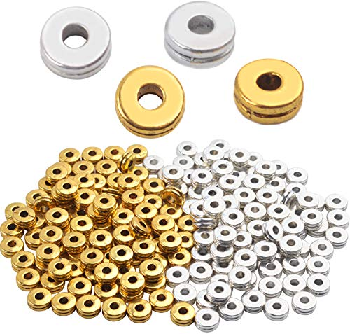 Metal Spacer Beads,200pcs Flat Round Disc Rondelle Spacer Beads Metal Rondelle Beads Spacers for Jewelry Making(6mm) - Silver and Golden
