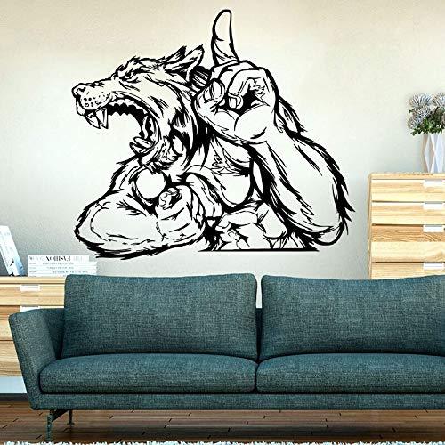 Opprxg Lobo Animal Etiqueta de la Pared Hombre Lobo Selva Animal Salvaje Animal Pared calcomanía Dormitorio guardería Vinilo decoración del hogar 64 cm x 56 cm