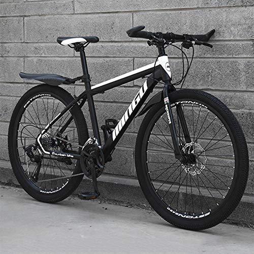 26 Zoll Mountainbike Fully, geignet ab 150 cm, Scheibenbremse vorne und hinten, Schaltung, Vollfederung, Jungen-Herren Fahrrad, mit Vorder- und Hinterschutzblech,Black and White,21 Speed