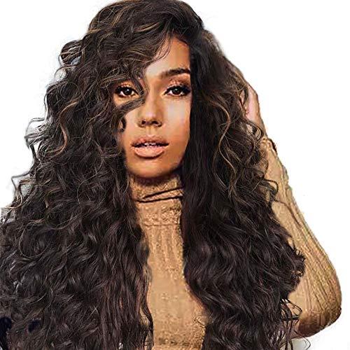 Coloré(TM) Wig Perruque Fille Dégradé Naturel Brun Partie Longue Perruque de Cheveux Bouclés Synthétique Perruque Synthétique
