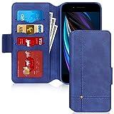 iPhone SE ケース 第2世代 iPhone8 ケース iPhone7ケース FYY スマホケース 手帳型 カード収納 スタンド機能 サイドマグネット 耐衝撃 高級PUレザーケース iPhone SE 第2世代 (2020年モデル) / iPhone8 / iPhone7 4.7インチ対応(ネイビー)