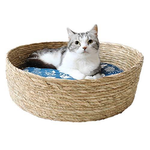 Rieten Hondenmand, Ronde Handgemaakte Rotan Kennel Moderne Kattenmand Met Katoenen Matras En Koele Mat,L