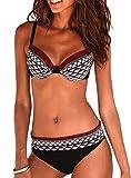 JFan Costume da Bagno Sexy da Donna Imbottito da Bagno Push Up Bikini Stampa Tribale Swimsuit (Vino Rosso, L (IT 44-46))