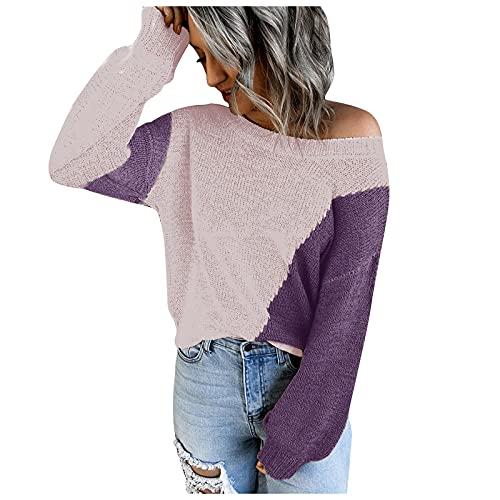 Jersey Mujer de Punto de Tejido Color Block Suéter Mujer Hombro Descubierto Suelta Camiseta Mujer Manga Larga Casual Blusas de Mujer para Otoños Invierno Tops Ideal para Vida Diaria,Ocio,Trabajo