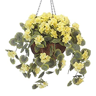 """OakRidge Miles Kimball Fully Assembled Artificial Geranium Hanging Basket, 10"""" Diameter and 18"""" Chain – Yellow Polyester/Plastic Flowers in Metal and Coco Fiber Liner Basket for Indoor/Outdoor Use"""