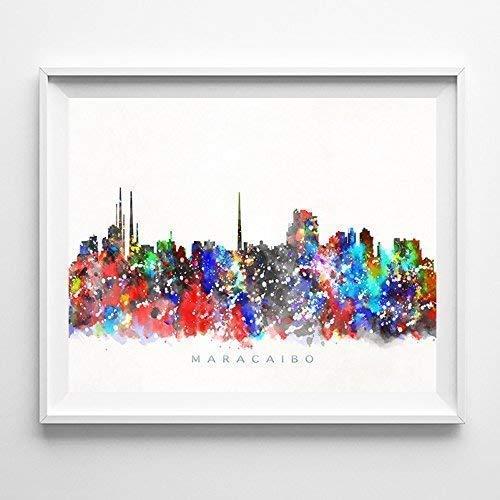 Maracaibo Venezuela Watercolor Skyline Wall Poster Art Seasonal sale Wrap Introduction Cityscape