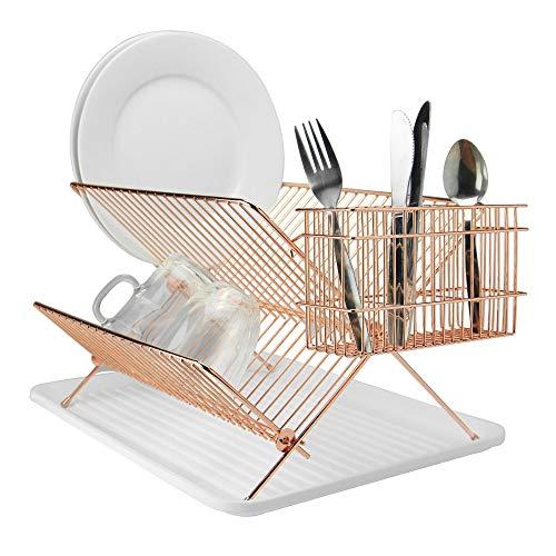 Egouttoir pliant en or rose | Séchoir en acier inoxydable | Égouttoir à vaisselle pliable | Organisateur de couverts | Séchoir à plaques | Porte-couve