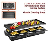 Artestia Electric Raclette Grill Tabletop BBQ,Two Large Non-stick Grilling Plates,Adjustable...