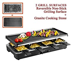 """Electric Raclette Grill with Two Top Plates (Cast Aluminum Reversible Grill Plate and High Density Granite Grill Stone) by Artestia, Serve the whole family. Model number AR-89001 The set includes one Reversible Cast Aluminum Grill Plate (18.3"""" X 9.2""""..."""