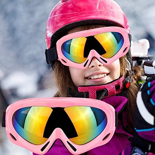 Fengzio Skibrille Kinder Snowboardbrille Winddicht Ski Schutzbrille UV400 Schutz für Wintersportarten Skifahren, Fahrrad, Skaten, Snowboarden (01-Pink)