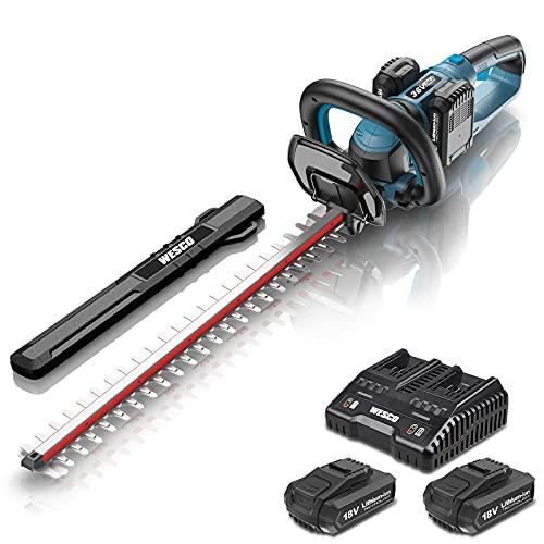 WESCO Akku Heckenschere, 2x 18V Li-Ion-Akku, 610mm Schnittlänge, 19mm Zahnabstand, Zweihand-Sicherheitsschalter, Anti-Vibration Design, Drehbarer Hinterer Griff, inkl. 2x 2,0 Ah Akku und Ladegerät