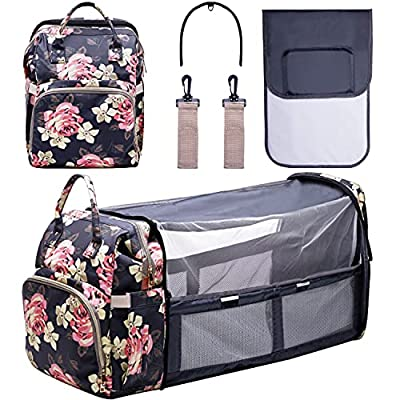 Diaper Bag Backpack with Changing Station Large Capacity Baby Bags Travel Foldable Baby Bed Waterproof Backpack Diaper Bags for Baby Girls/Boys