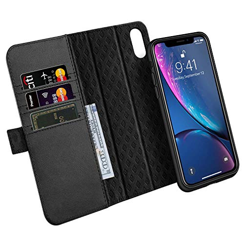 ZOVER Detachable Wallet Case Compatible with iPhone XR with RFID Blocking Kickstand Feature Genuine Leather Card Bison Fone Slots Magnetic Clasps Gift Box Black