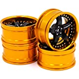 4pcs RC 1/10 Aluminum Alloy Wheel Rims Hex 12mm Adjustable Offset Gold & Black Color Fit 1:10 RC On Road Drift Touring Car Tires