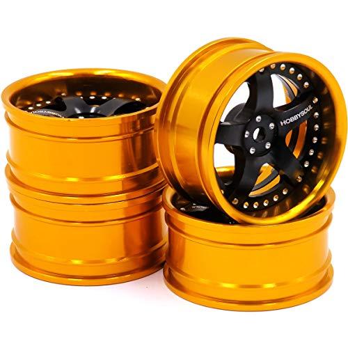 hobbysoul 4 Stück RC 1/10 Aluminium felgen Sechskant 12mm Einstellbarer Versatz Gold & Schwarz Farbe Passform 1:10 RC On Road Drift Tourenwagen Reifen