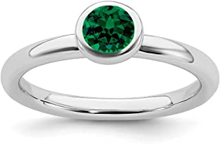 Stackable Expressions Sterling Silver Low Bezel Set Round Cut 5mm Created Emerald Ring