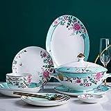 Juego de vajilla Juego de vajilla de porcelana de 56 piezas Vajilla de estilo vintage,juegos combinados de cerámica pintados a mano con plato de cena Plato de postre Cuenco,servicio para 10
