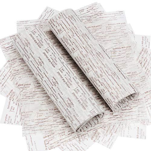 TsunNee - Papel para envolver alimentos; papel encerado impermeable a prueba de aceites; envoltorio para regalos, manualidades, pasteles, queso, turrón, chocolate, 25 x 22 cm