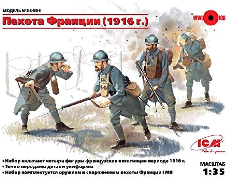 tienda de descuento French Infantry (1916) (1916) (1916) (4 Figuras) 1 35 ICM 35691 NEW by ICM  opciones a bajo precio