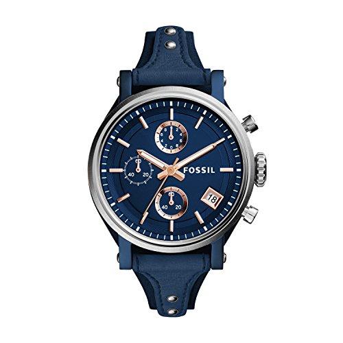 Fossil Damen Chronograph Quarz Uhr mit Leder Armband ES4113