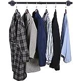 Kleiderstange für die Wand, Wandgarderoben ,Garderobenstange im Industriedesign, Wandmontage, Metall, Schwarz,bis 50 kg belastbar, für Einzelhandels-Display,Bekleidungsgeschäft