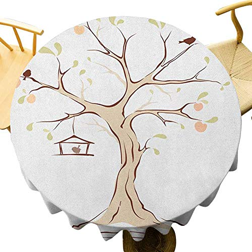 VICWOWONE Tree of Life Tablecloth - 50 Inch Round tablecloth dinner Mature Apple Tree with Fying Birds and the Nest Fruit Family Nature Food Image Decorative table Multicolor