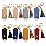 MEABEN 8 PCS 30ML Hand Sanitizer Leather Keychain Holder Bottles Cases Carrier Squeeze Containers Flip Cap Travel Empty Hand Sanitizer Bottle Holders for Lotion Liquid Soap Shampoo Liquids, Multicolor