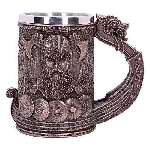 Nemesis Now B4810P9 - Boccale in bronzo Drakkar vichingo, 15 cm, resina con acciaio inox