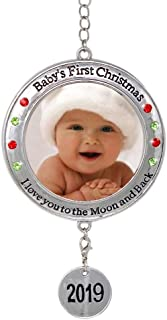 BANBERRY DESIGNS Baby's First Christmas - 2019 Photo Xmas Ornament - I Love You to The Moon and Back Picture Opening for Babies - Baby Keepsake Ornaments