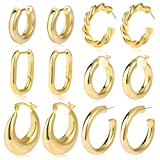 6 Pairs Gold Chunky Hoop Earrings Set for Women Hypoallergenic Thick Open Twisted Huggie Hoop Jewelry for Birthday Gifts