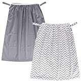 Teamoy (2 Pack) Reusable Pail Liner for Cloth Diaper/Dirty Diapers Wet Bag, Gray Chevron+S...