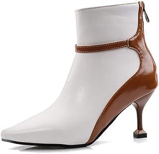 Enkellaarzen Dames, Dames Laarsjes in Bijpassende Kleur, Puntige Stiletto Hoge Hakken Dames Korte Laarzen,White,40