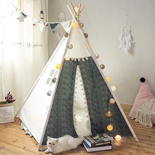 TreeBud Kinder Tipi Spielzelt Indoor Outdoor Fünf Pole Indische Zelte Kleinkinder Jungen Mädchen Spielhaus Pom Pom Spitze Baumwolle Leinwand Tipi mit Tragetasche (Druck)