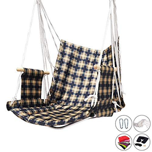 Hanging Rope Chair Swing Seat, Handmade Hammock Chair with 2 Hooks for Home Patio Deck Yard Garden Reading Leisure (Color : Style-2)
