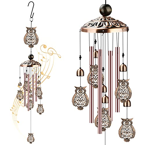 icyant Owl Wind Chimes Outdoor Memorial Wind Chime Indoor Decor With 4...