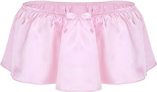 Alvivi Men's Ruffled Silky Satin Skirted Panties G-String Thongs Underwear Sissy Bikini Briefs