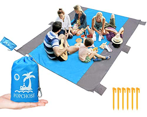 POPCHOSE Sandfree Beach Blanket, Large Beach Mat 108 x 85.2 inches for 4-7 Adults, Pocket Outdoor Blanket with 6 Stakes Portable Family Picnic Camping Mat for Travel, Camping, Hiking