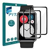 FITA 3D Schutzfolie Kompatibel mit Huawei Watch Fit/HONOR Watch ES Displayschutzfolie [2 Stück], Vollständige Abdeckung 99.99% HD Kristallklar Kratzfest folie Kompatibel mit Huawei Watch Fit